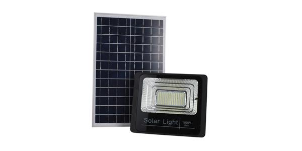 solar flood light black